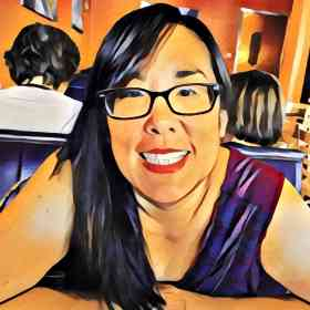 painting of a woman in a restaurant with black hair, black glasses, and purple tanktop