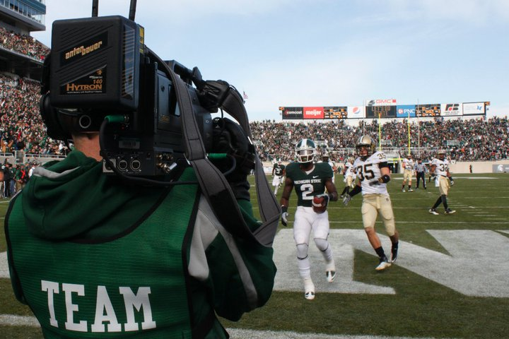 Cameraman in the endzone at Spartan Stadium